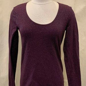 Wolford Long Sleeve Scoop Neck Top  Purple Sparkle